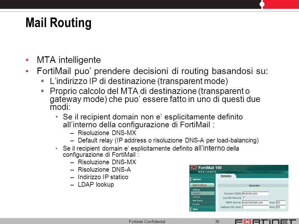 Fortinet Confidental 36 Mail Routing MTA intelligente FortiMail puo prendere decisioni di routing basandosi su: Lindirizzo IP di destinazione (transpa