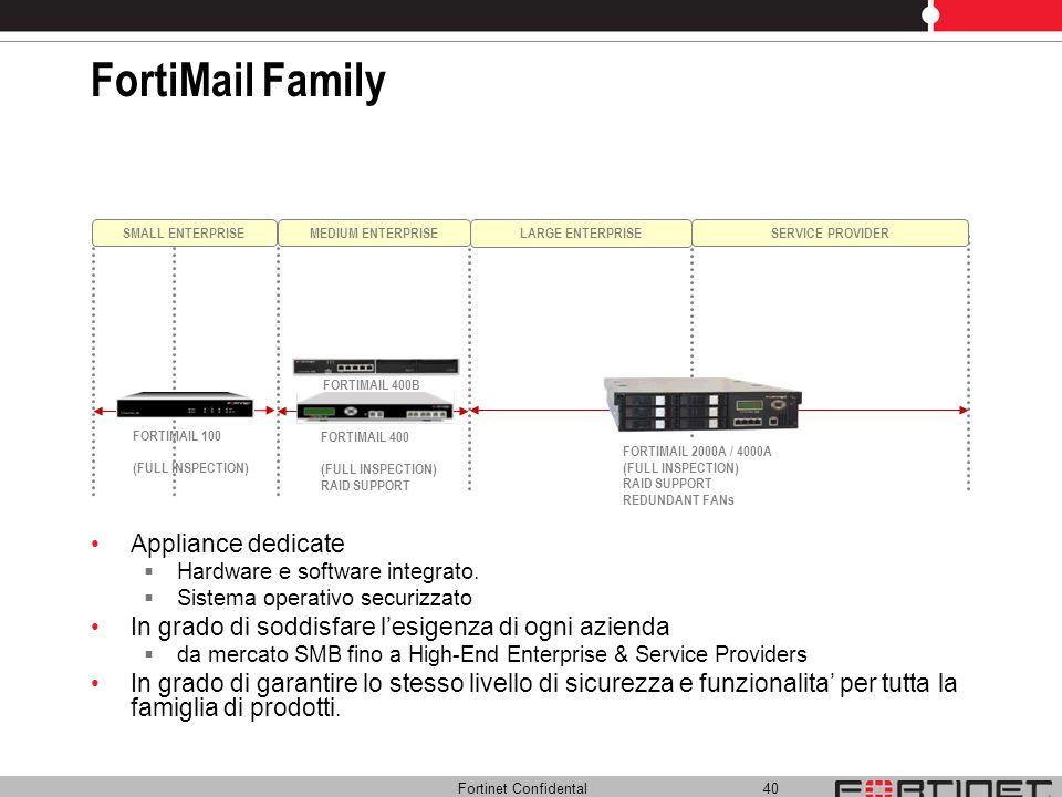 Fortinet Confidental 40 FortiMail Family Appliance dedicate Hardware e software integrato. Sistema operativo securizzato In grado di soddisfare lesige