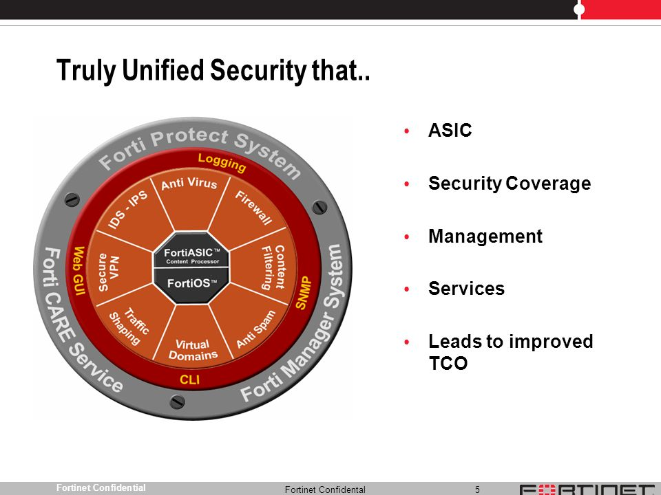 Fortinet Confidental 6 Fortinet Confidential Fortinet Leads Across UTM Market Fortinet is the leading vendor in the UTM security appliance market Fortinets UTM product portfolio is seeing success across all price bands, including the high end, which has been the hardest sell for many vendors
