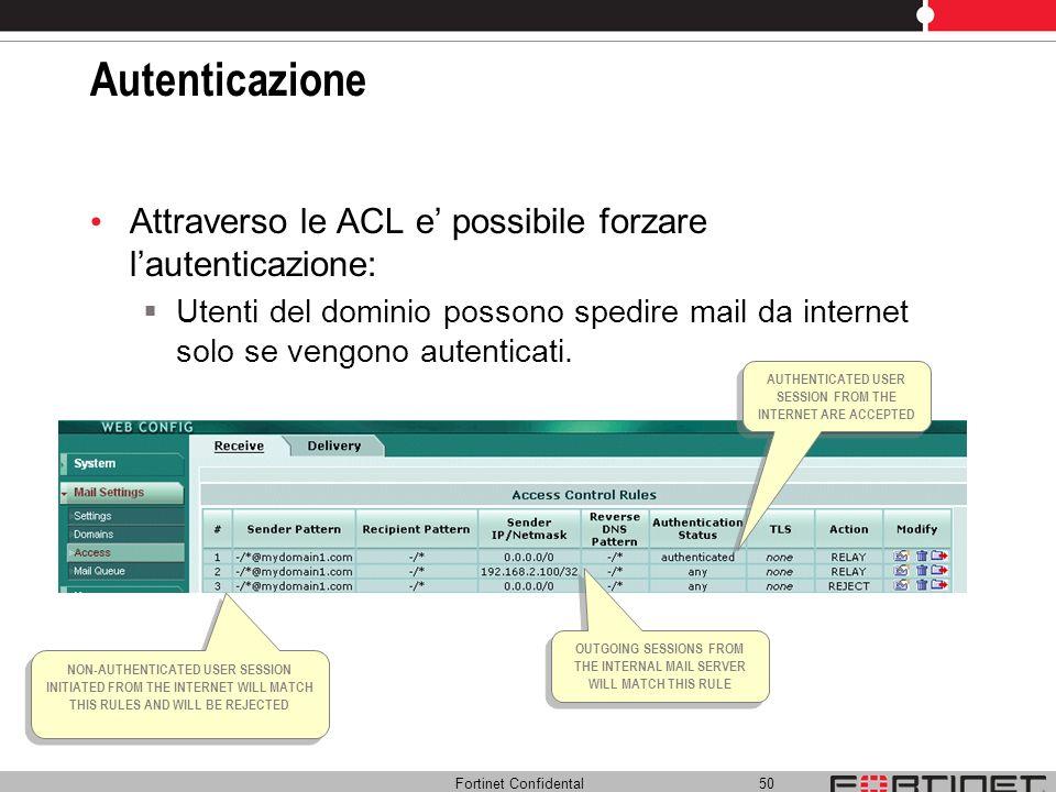 Fortinet Confidental 50 Autenticazione Attraverso le ACL e possibile forzare lautenticazione: Utenti del dominio possono spedire mail da internet solo