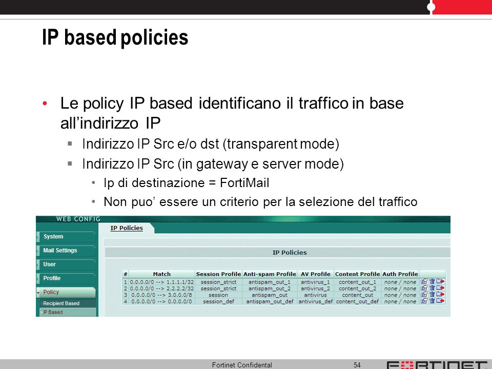 Fortinet Confidental 54 IP based policies Le policy IP based identificano il traffico in base allindirizzo IP Indirizzo IP Src e/o dst (transparent mo