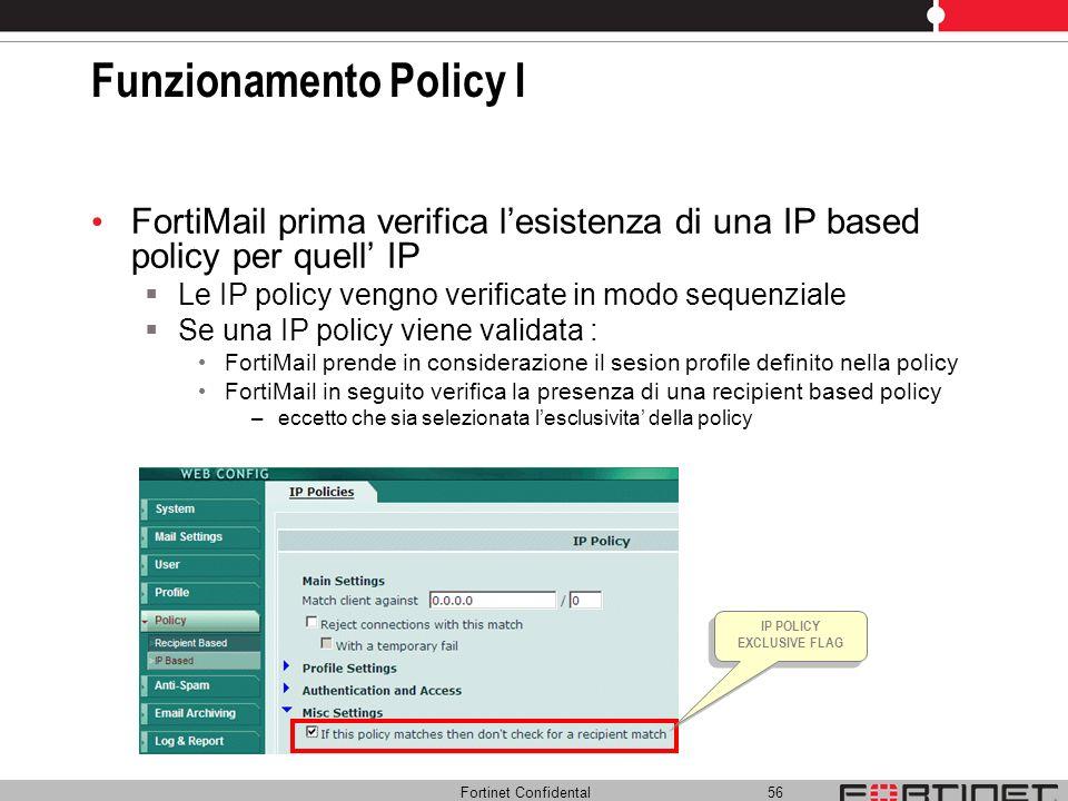 Fortinet Confidental 56 Funzionamento Policy I FortiMail prima verifica lesistenza di una IP based policy per quell IP Le IP policy vengno verificate