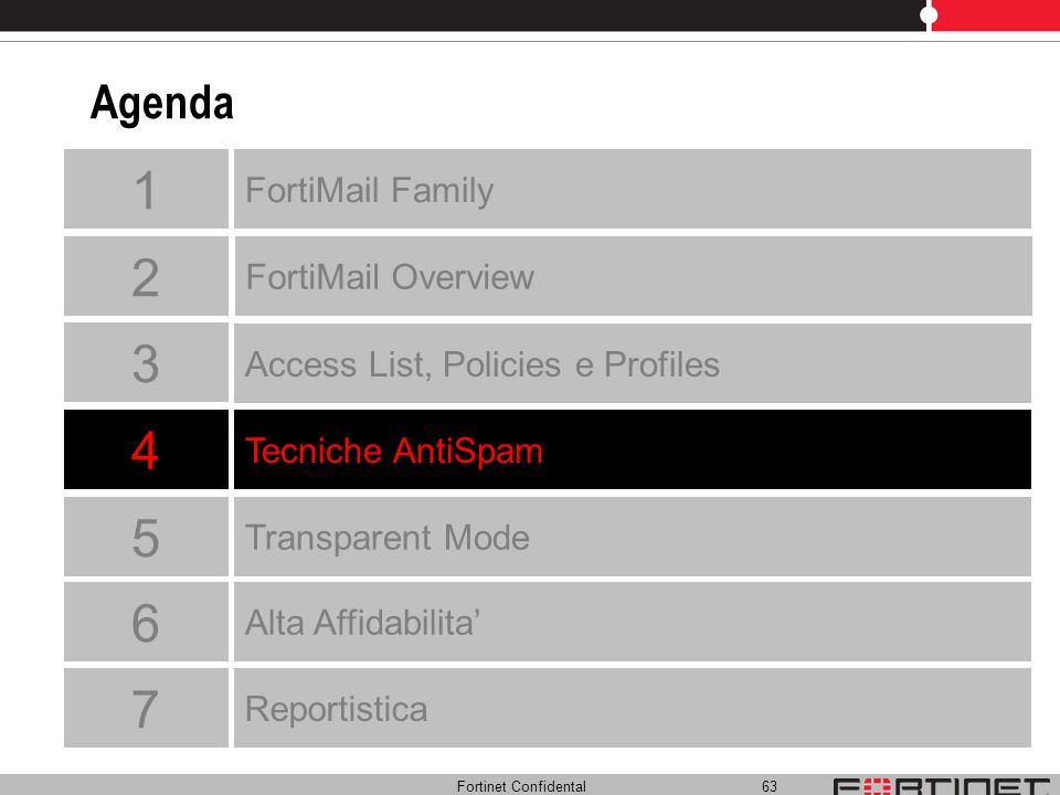 Fortinet Confidental 63 Agenda Tecniche AntiSpam FortiMail Overview FortiMail Family Access List, Policies e Profiles Transparent Mode 4 1 2 3 5 Alta