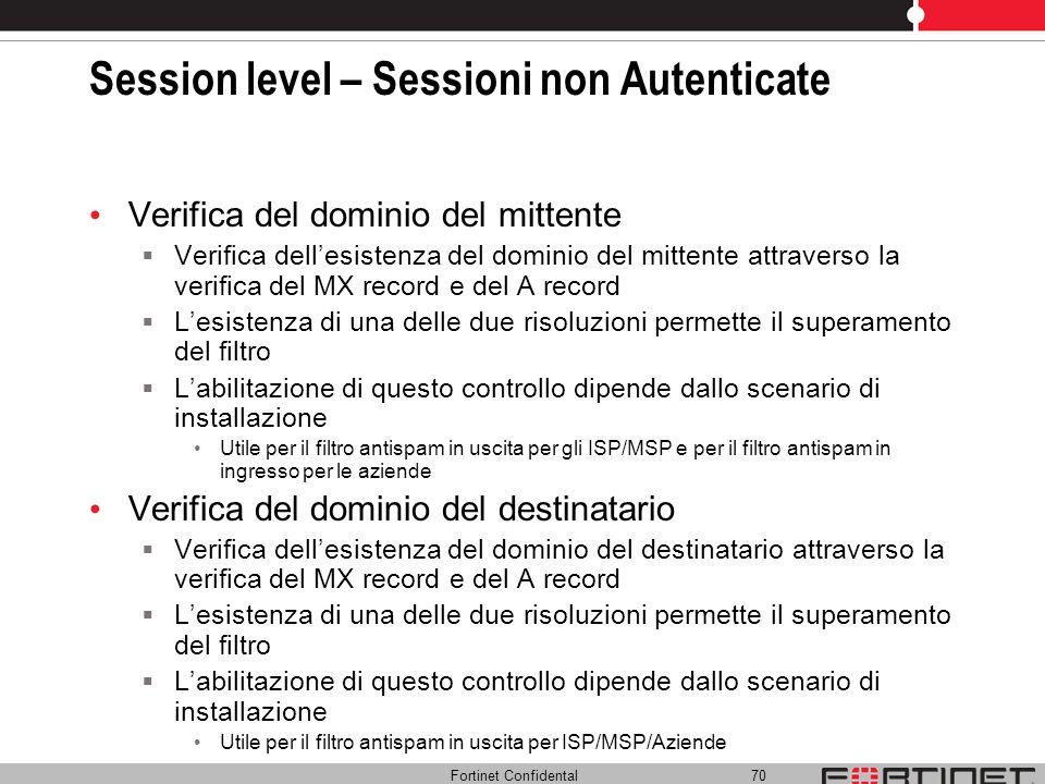 Fortinet Confidental 70 Session level – Sessioni non Autenticate Verifica del dominio del mittente Verifica dellesistenza del dominio del mittente att