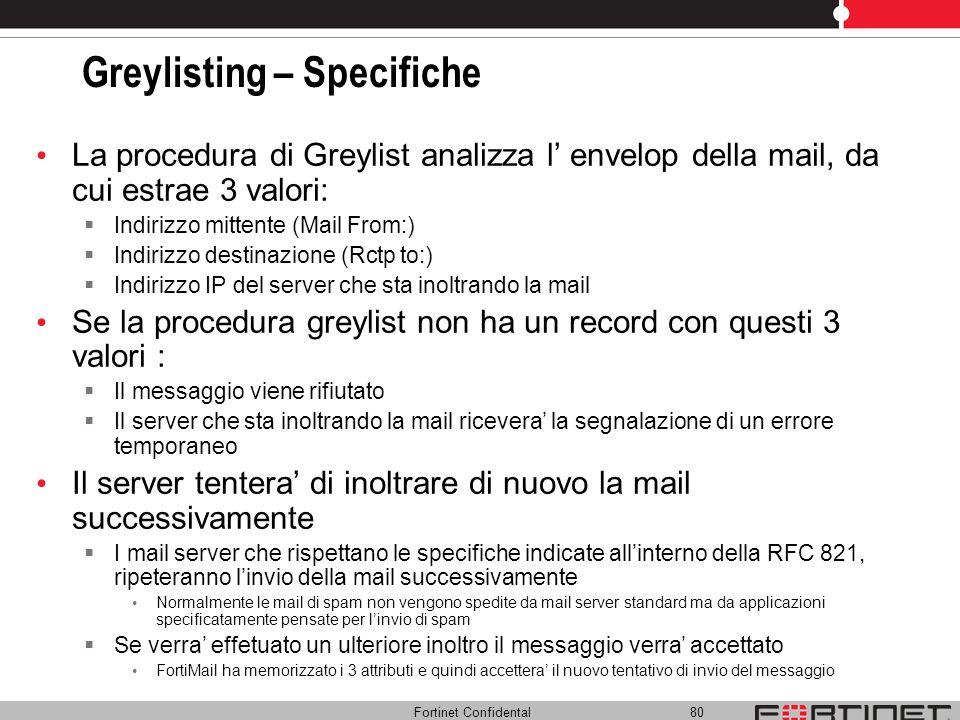 Fortinet Confidental 80 Greylisting – Specifiche La procedura di Greylist analizza l envelop della mail, da cui estrae 3 valori: Indirizzo mittente (M