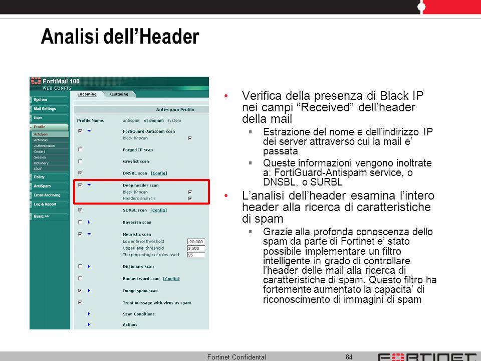 Fortinet Confidental 84 Analisi dellHeader Verifica della presenza di Black IP nei campi Received dellheader della mail Estrazione del nome e dellindi