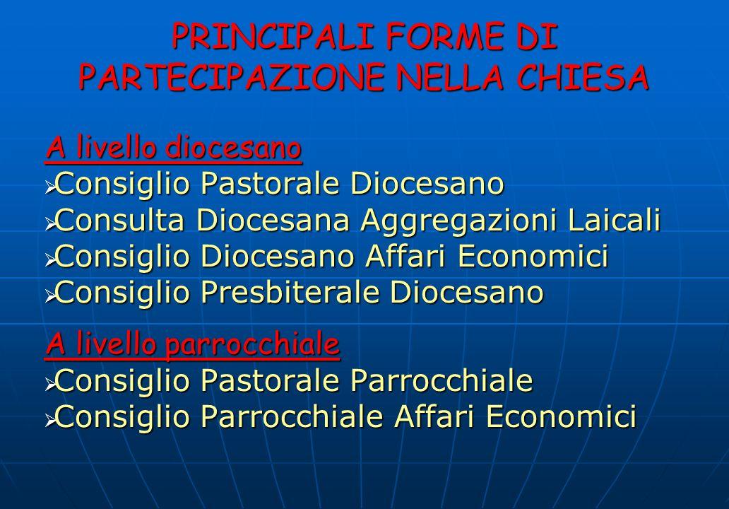 PRINCIPALI FORME DI PARTECIPAZIONE NELLA CHIESA A livello diocesano Consiglio Pastorale Diocesano Consiglio Pastorale Diocesano Consulta Diocesana Agg