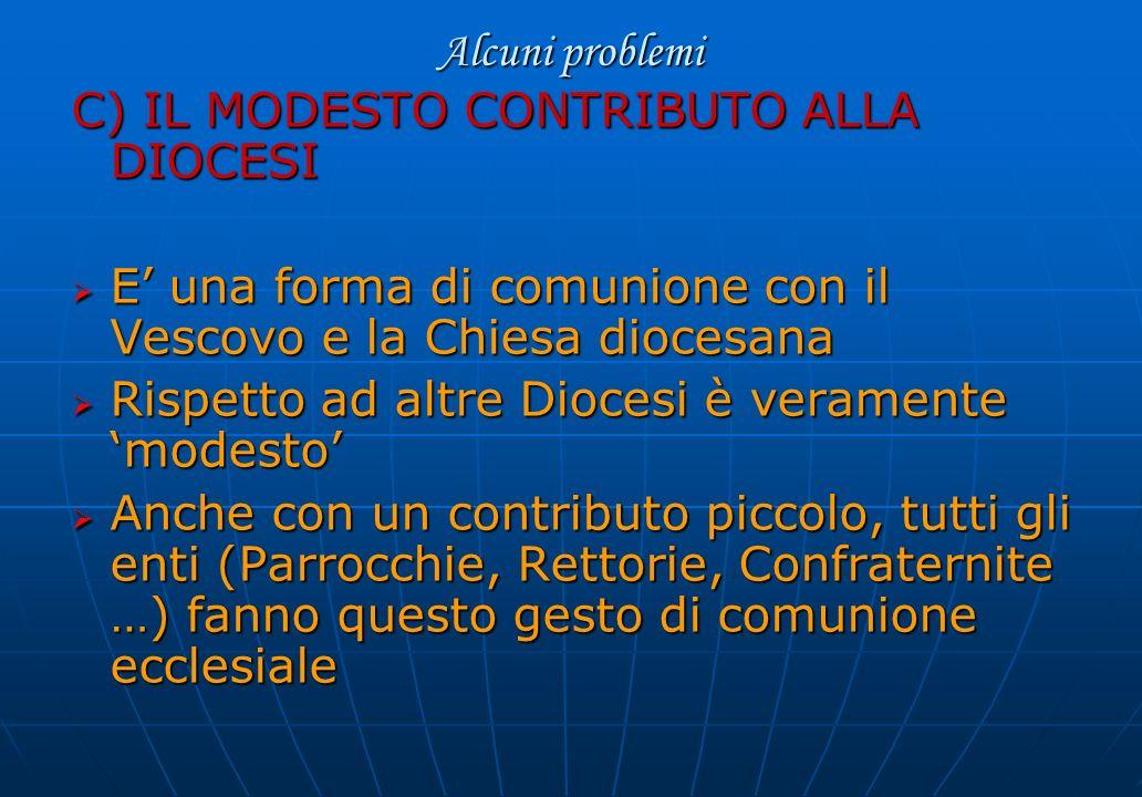 Alcuni problemi C) IL MODESTO CONTRIBUTO ALLA DIOCESI E una forma di comunione con il Vescovo e la Chiesa diocesana E una forma di comunione con il Ve