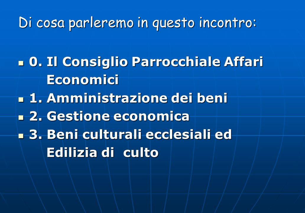 Di cosa parleremo in questo incontro: 0. Il Consiglio Parrocchiale Affari 0. Il Consiglio Parrocchiale Affari Economici Economici 1. Amministrazione d