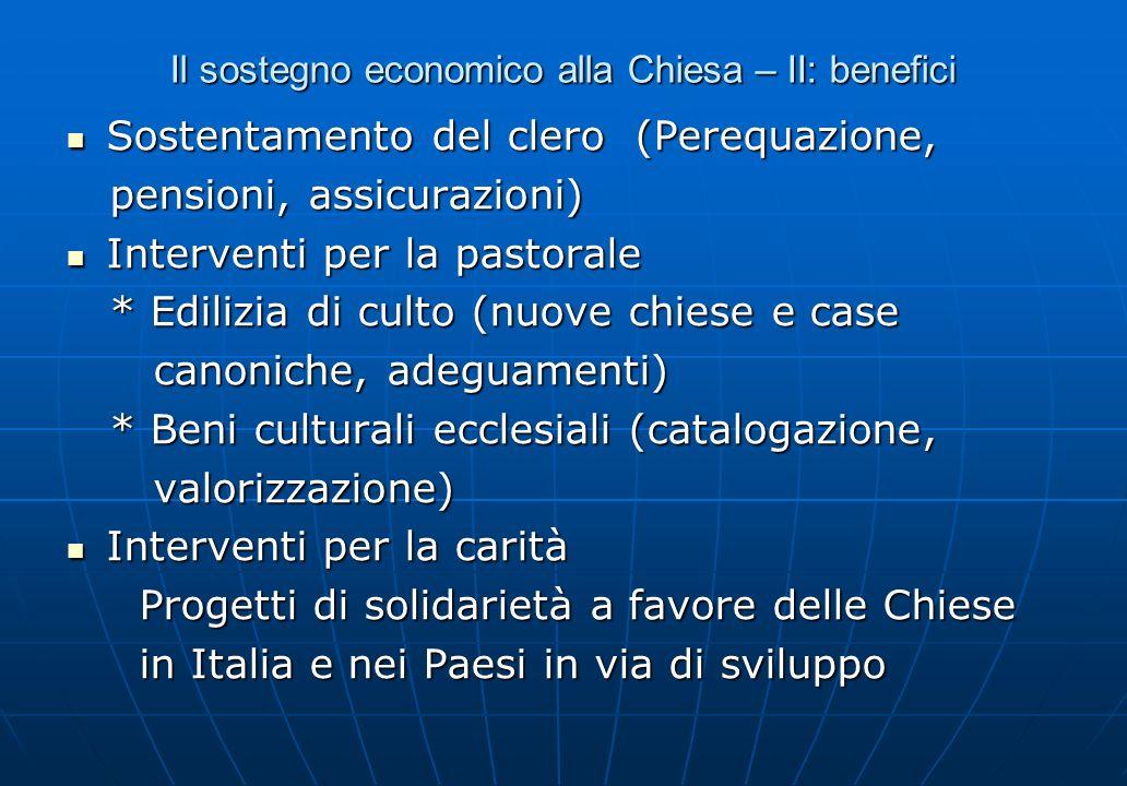 Il sostegno economico alla Chiesa – II: benefici Sostentamento del clero (Perequazione, Sostentamento del clero (Perequazione, pensioni, assicurazioni