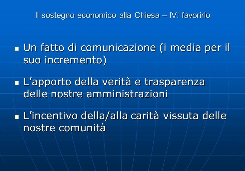Il sostegno economico alla Chiesa – IV: favorirlo Un fatto di comunicazione (i media per il suo incremento) Un fatto di comunicazione (i media per il