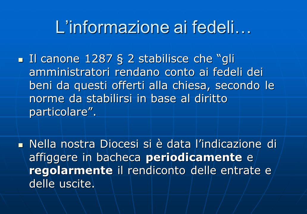 Linformazione ai fedeli… Il canone 1287 § 2 stabilisce che gli amministratori rendano conto ai fedeli dei beni da questi offerti alla chiesa, secondo
