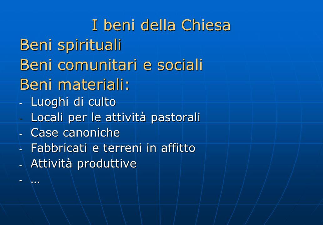I beni della Chiesa Beni spirituali Beni comunitari e sociali Beni materiali: - Luoghi di culto - Locali per le attività pastorali - Case canoniche -