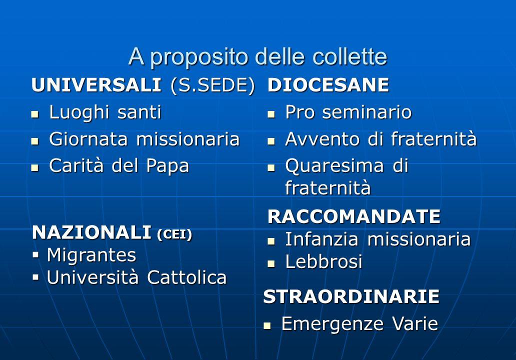 A proposito delle collette UNIVERSALI (S.SEDE) Luoghi santi Luoghi santi Giornata missionaria Giornata missionaria Carità del Papa Carità del Papa STR