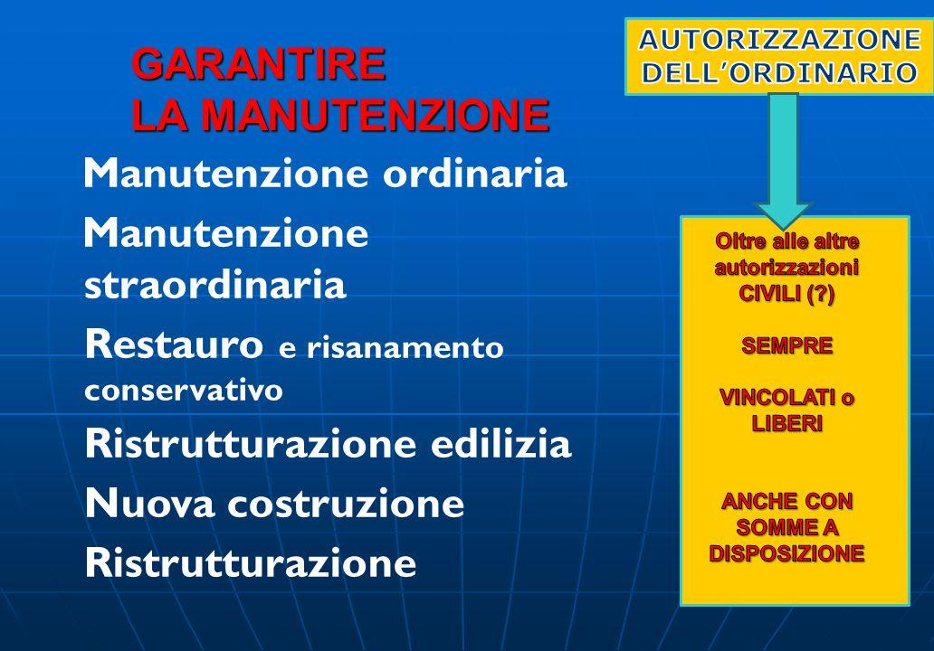 GARANTIRE LA MANUTENZIONE Manutenzione ordinaria Manutenzione straordinaria Restauro e risanamento conservativo Ristrutturazione edilizia Nuova costru