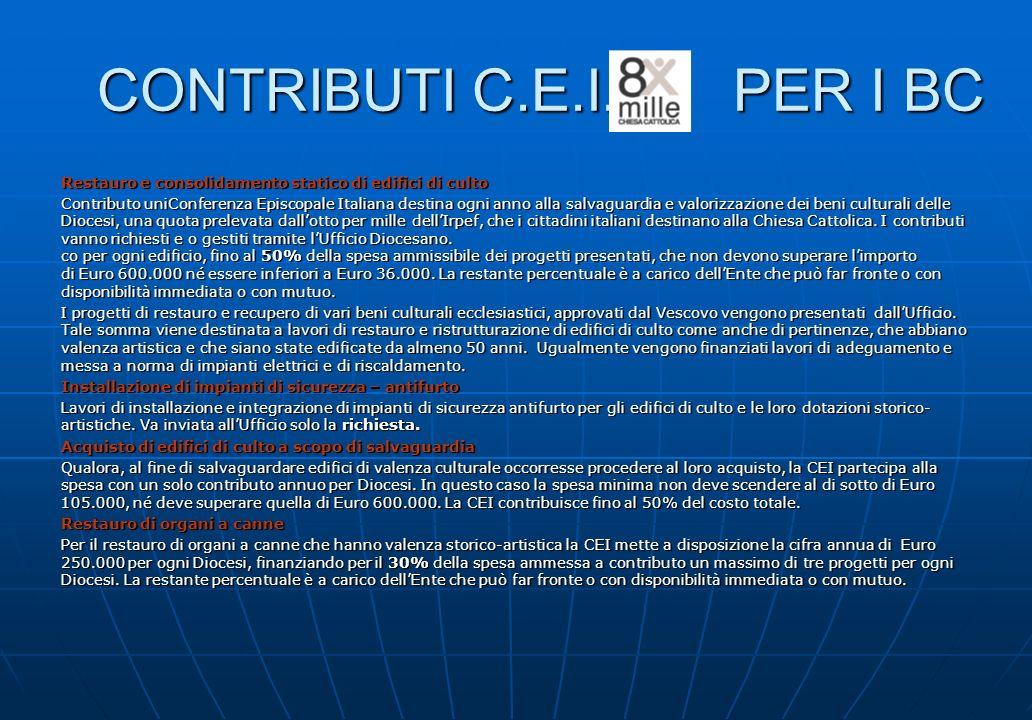 CONTRIBUTI C.E.I. PER I BC Restauro e consolidamento statico di edifici di culto Contributo uniConferenza Episcopale Italiana destina ogni anno alla s