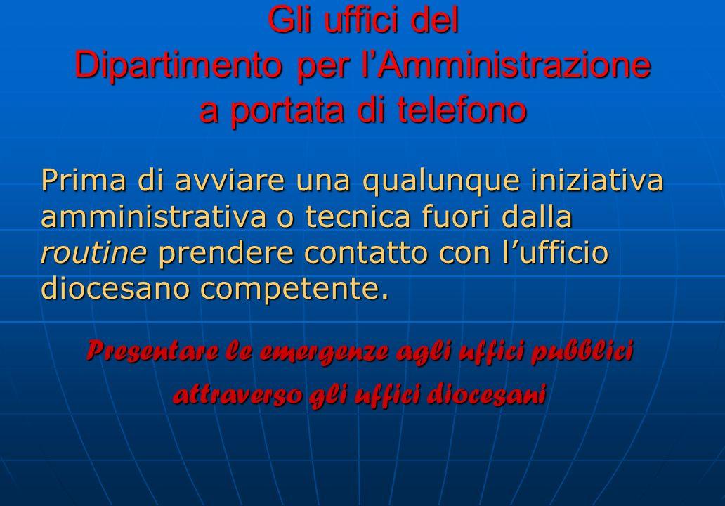 Gli uffici del Dipartimento per lAmministrazione a portata di telefono Prima di avviare una qualunque iniziativa amministrativa o tecnica fuori dalla