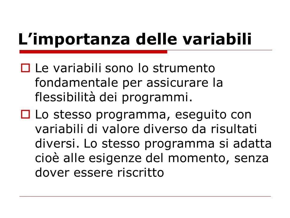 Limportanza delle variabili Le variabili sono lo strumento fondamentale per assicurare la flessibilità dei programmi. Lo stesso programma, eseguito co