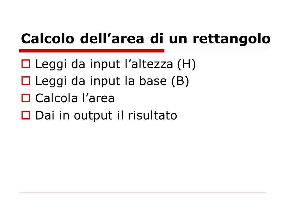 Calcolo dellarea di un rettangolo Leggi da input laltezza (H) Leggi da input la base (B) Calcola larea Dai in output il risultato