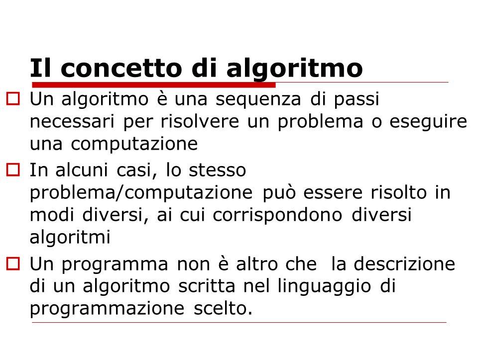 Il concetto di algoritmo Un algoritmo è una sequenza di passi necessari per risolvere un problema o eseguire una computazione In alcuni casi, lo stesso problema/computazione può essere risolto in modi diversi, ai cui corrispondono diversi algoritmi Un programma non è altro che la descrizione di un algoritmo scritta nel linguaggio di programmazione scelto.