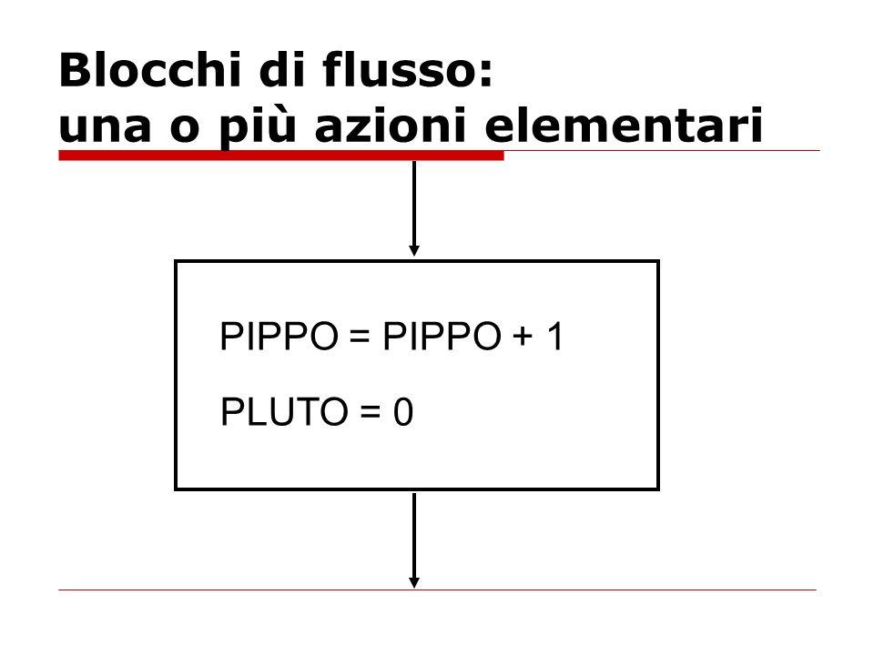Blocchi di flusso: una o più azioni elementari PIPPO = PIPPO + 1 PLUTO = 0