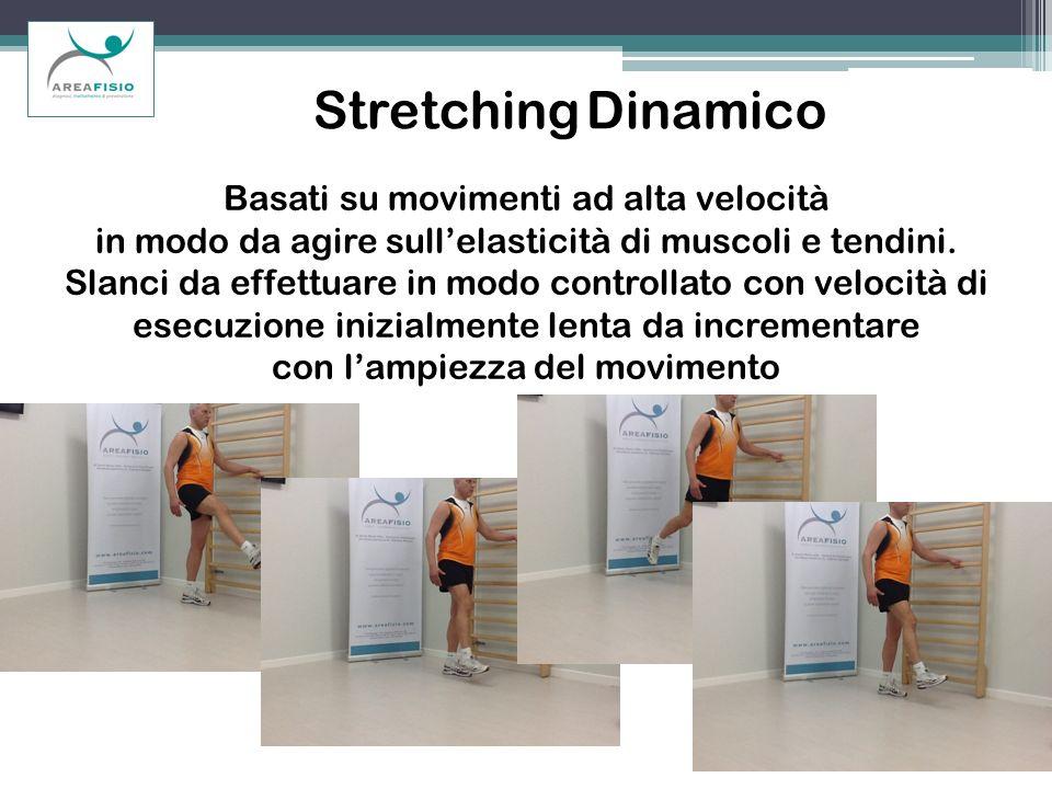 Stretching Dinamico Basati su movimenti ad alta velocità in modo da agire sullelasticità di muscoli e tendini. Slanci da effettuare in modo controllat