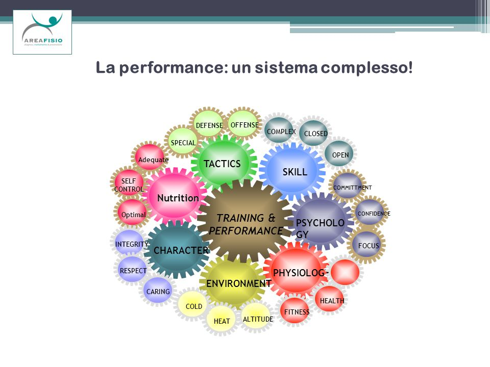 La performance: un sistema complesso! OPEN SKILL PSYCHOLO GY PHYSIOLOGY TACTICS Nutrition CHARACTER ENVIRONMENT ALTITUDE HEAT COLD HEALTH FOCUS CONFID