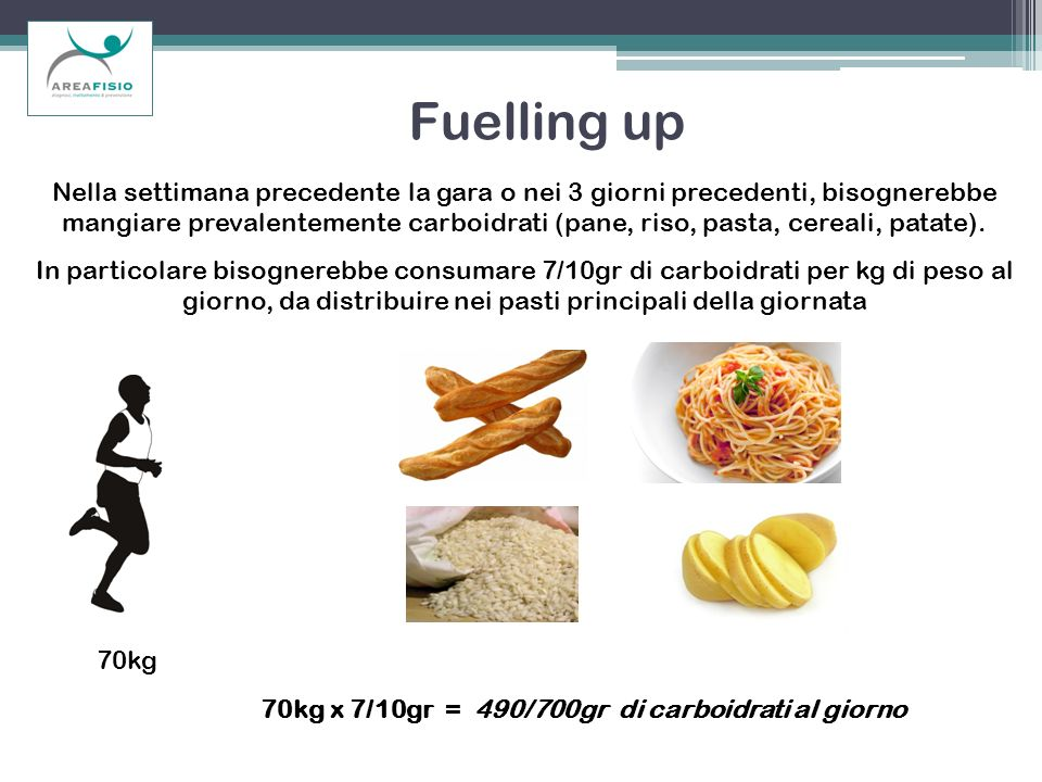 Fuelling up Nella settimana precedente la gara o nei 3 giorni precedenti, bisognerebbe mangiare prevalentemente carboidrati (pane, riso, pasta, cereal