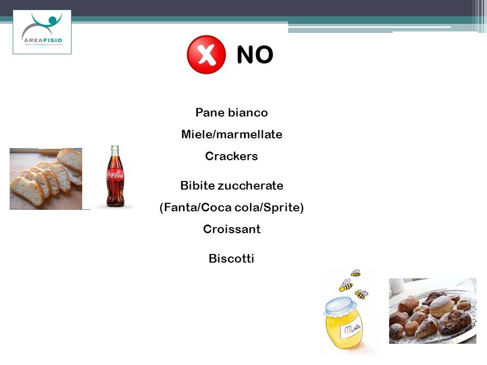 NO Pane bianco Miele/marmellate Crackers Bibite zuccherate (Fanta/Coca cola/Sprite) Croissant Biscotti