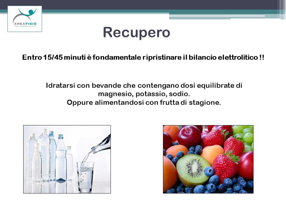 Recupero Idratarsi con bevande che contengano dosi equilibrate di magnesio, potassio, sodio. Oppure alimentandosi con frutta di stagione. Entro 15/45