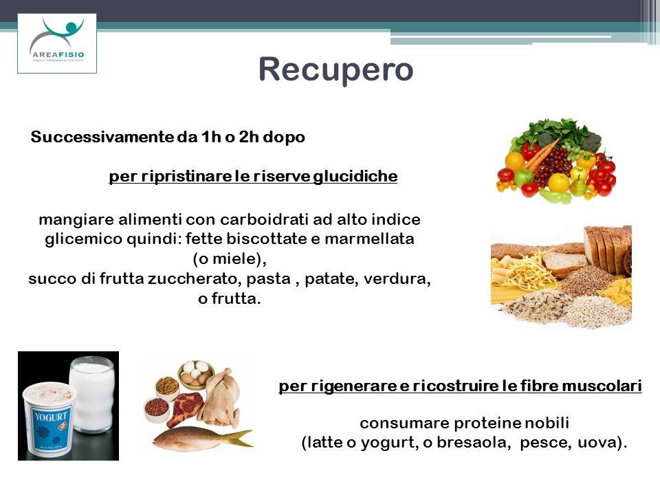 per rigenerare e ricostruire le fibre muscolari mangiare alimenti con carboidrati ad alto indice glicemico quindi: fette biscottate e marmellata (o mi