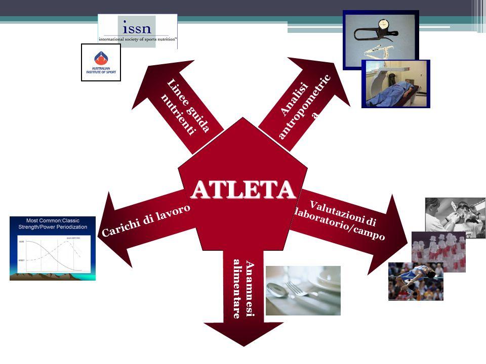 Valutazioni di laboratorio/campo Linee guida nutrienti Anamnesi alimentare Analisi antropometric a Carichi di lavoro ATLETA