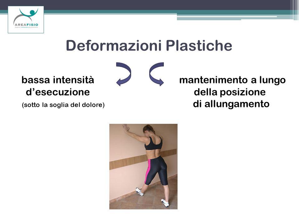 Deformazioni Plastiche bassa intensità desecuzione (sotto la soglia del dolore) mantenimento a lungo della posizione di allungamento