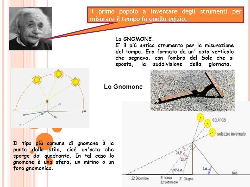 Lo GNOMONE. E il più antico strumento per la misurazione del tempo. Era formato da un' asta verticale che segnava, con lombra del Sole che si sposta,