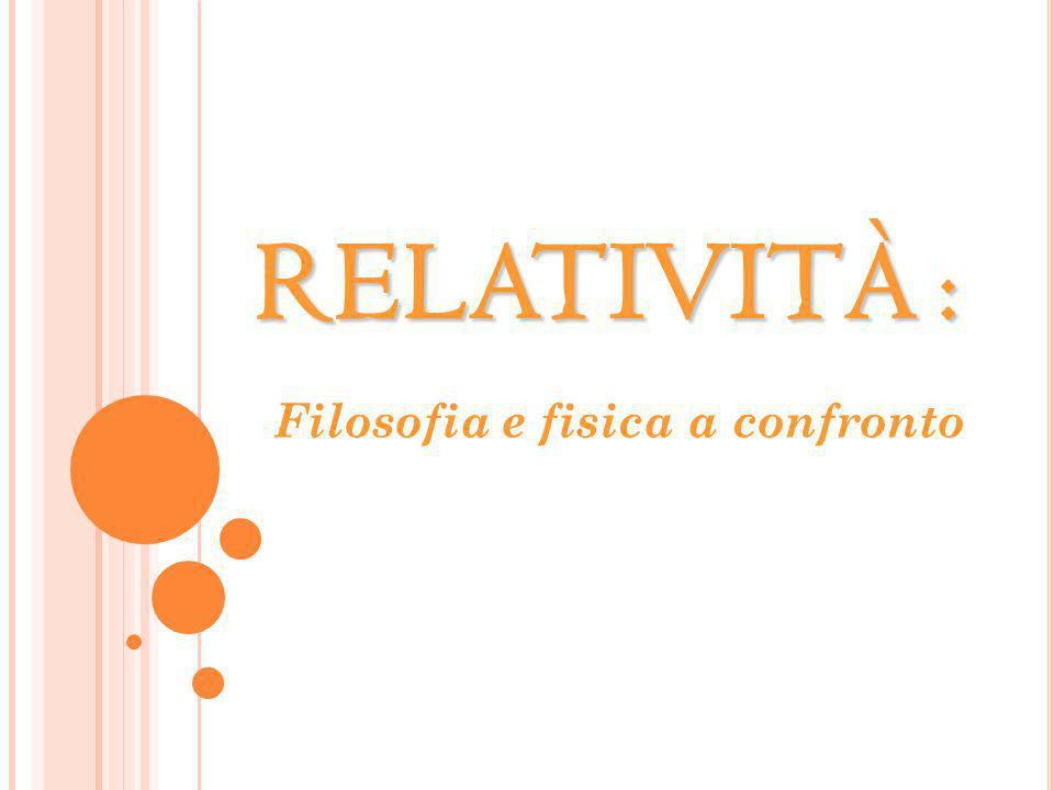 RELATIVITÀ : Filosofia e fisica a confronto
