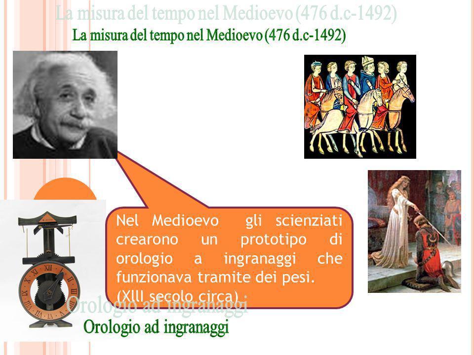 Nel Medioevo gli scienziati crearono un prototipo di orologio a ingranaggi che funzionava tramite dei pesi. (XllI secolo circa)