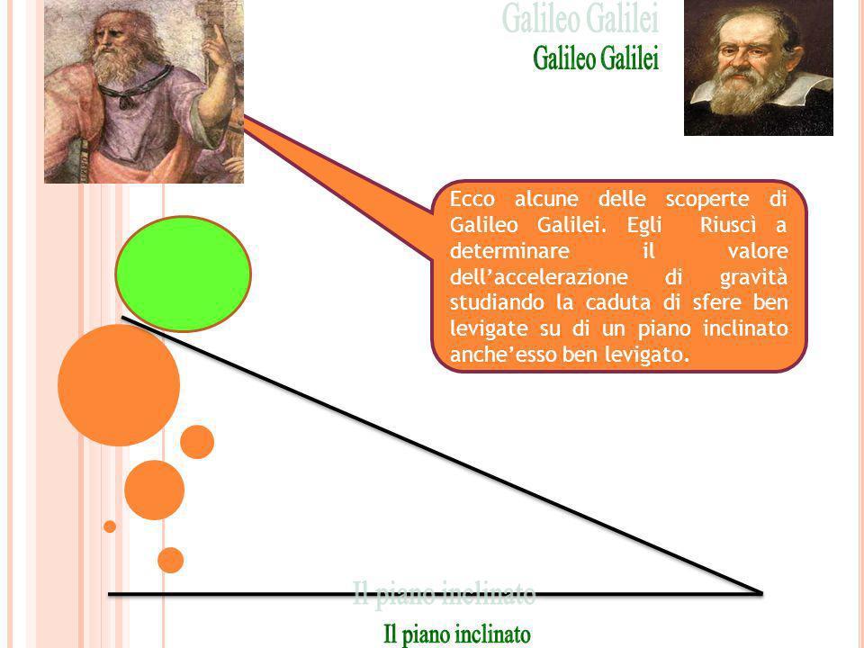 Ecco alcune delle scoperte di Galileo Galilei. Egli Riuscì a determinare il valore dellaccelerazione di gravità studiando la caduta di sfere ben levig