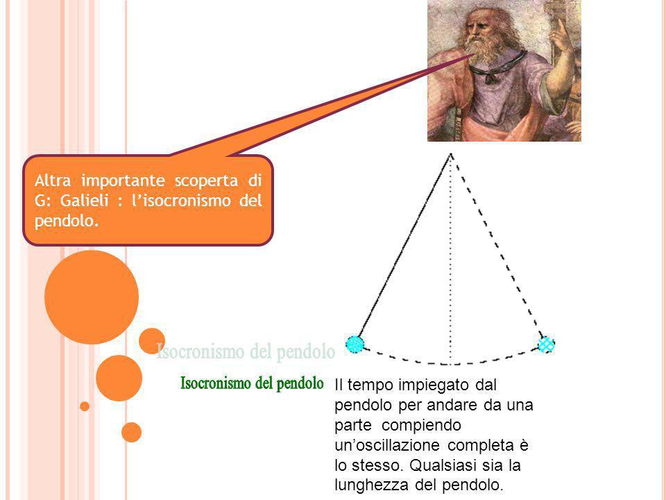 Altra importante scoperta di G: Galieli : lisocronismo del pendolo. Il tempo impiegato dal pendolo per andare da una parte compiendo unoscillazione co
