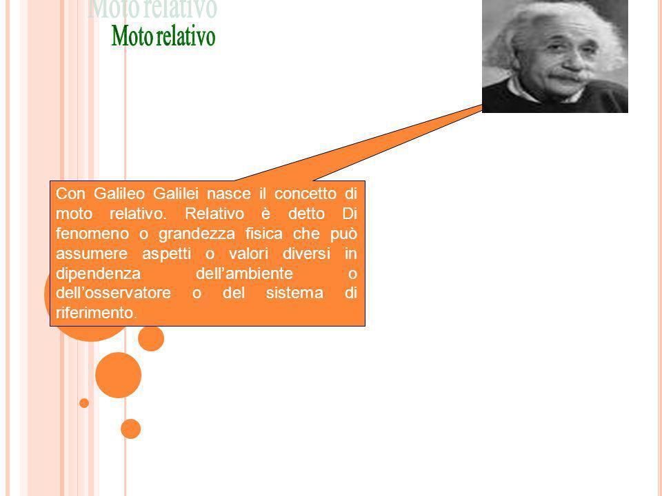 Con Galileo Galilei nasce il concetto di moto relativo. Relativo è detto Di fenomeno o grandezza fisica che può assumere aspetti o valori diversi in d