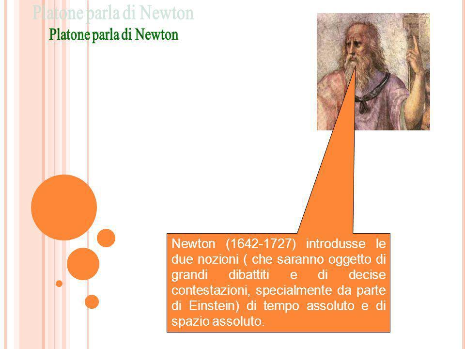 Newton (1642-1727) introdusse le due nozioni ( che saranno oggetto di grandi dibattiti e di decise contestazioni, specialmente da parte di Einstein) d