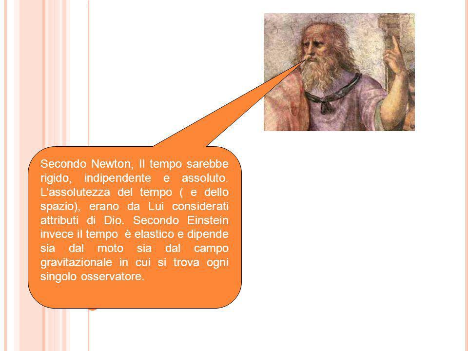 Secondo Newton, Il tempo sarebbe rigido, indipendente e assoluto. Lassolutezza del tempo ( e dello spazio), erano da Lui considerati attributi di Dio.
