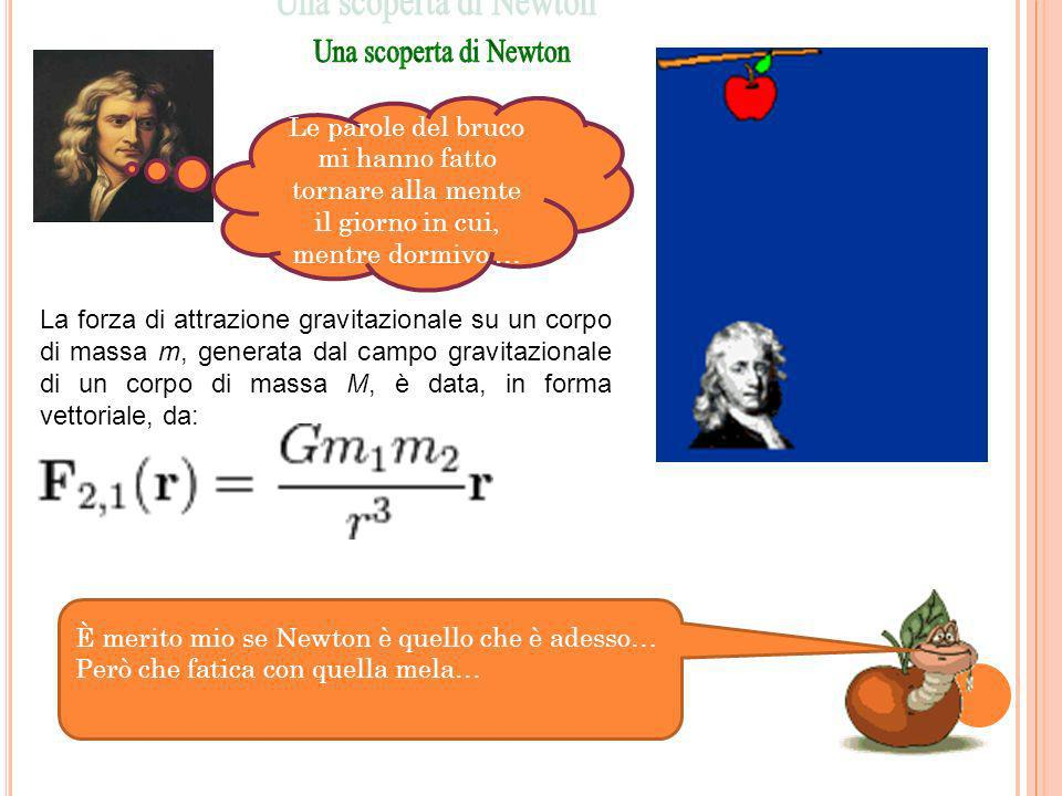 È merito mio se Newton è quello che è adesso… Però che fatica con quella mela… La forza di attrazione gravitazionale su un corpo di massa m, generata