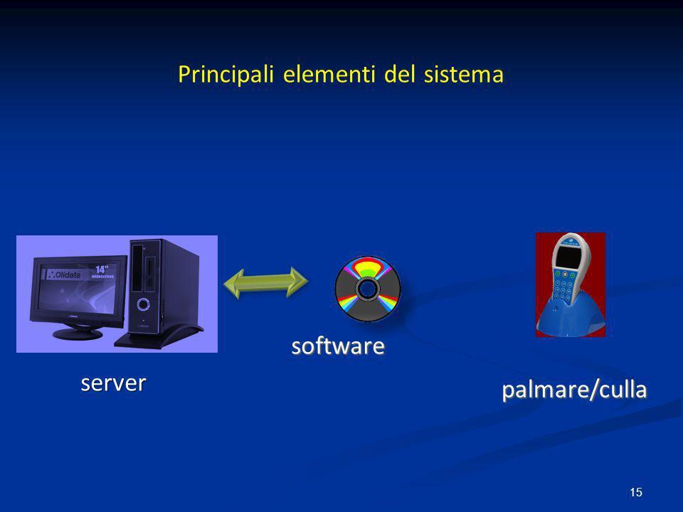15 server server software software palmare/culla palmare/culla Principali elementi del sistema
