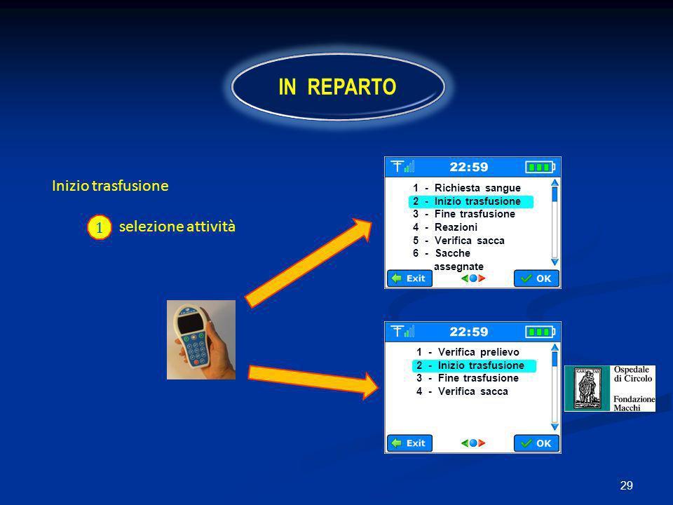 29 Inizio trasfusione selezione attività 1 IN REPARTO 1 - Richiesta sangue 2 - Inizio trasfusione 3 - Fine trasfusione 4 - Reazioni 5 - Verifica sacca