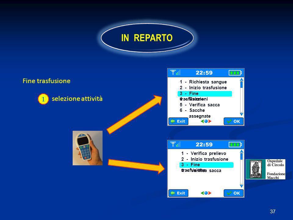 37 Fine trasfusione selezione attività 1 IN REPARTO 1 - Richiesta sangue 2 - Inizio trasfusione 3 - Fine trasfusione 4 - Reazioni 5 - Verifica sacca 6