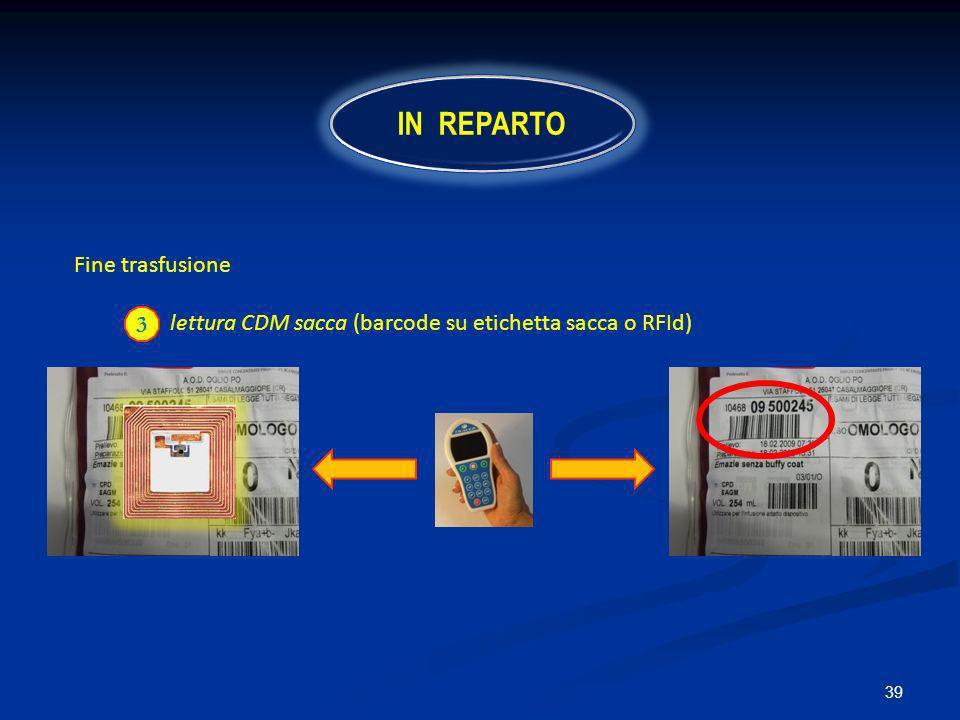 39 Fine trasfusione lettura CDM sacca (barcode su etichetta sacca o RFId) 3 IN REPARTO