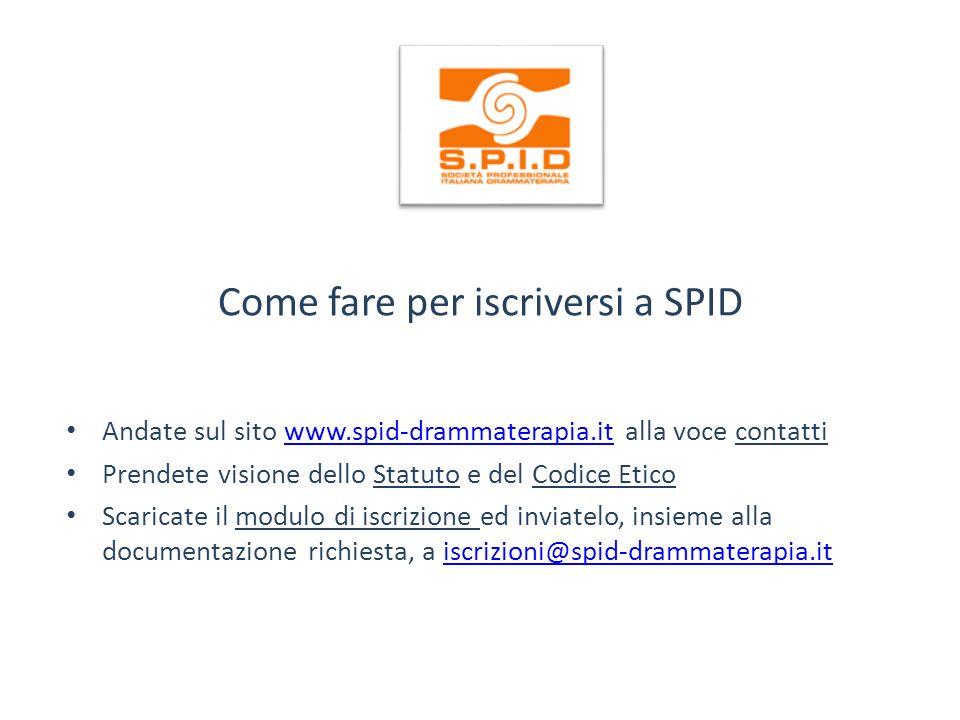 Come fare per iscriversi a SPID Andate sul sito www.spid-drammaterapia.it alla voce contattiwww.spid-drammaterapia.it Prendete visione dello Statuto e