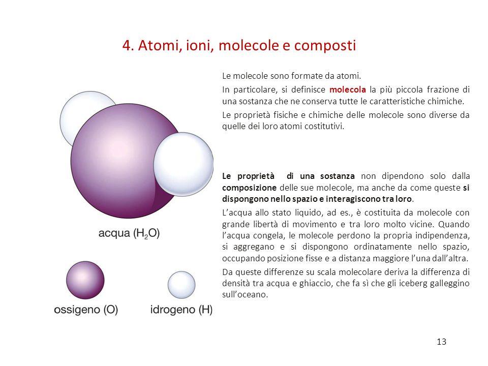 13 Le molecole sono formate da atomi.