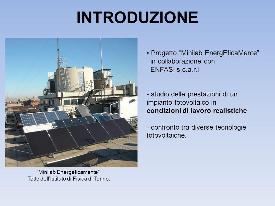 INTRODUZIONE Progetto Minilab EnergEticaMente in collaborazione con ENFASI s.c.a.r.l - studio delle prestazioni di un impianto fotovoltaico in condizioni di lavoro realistiche - confronto tra diverse tecnologie fotovoltaiche.