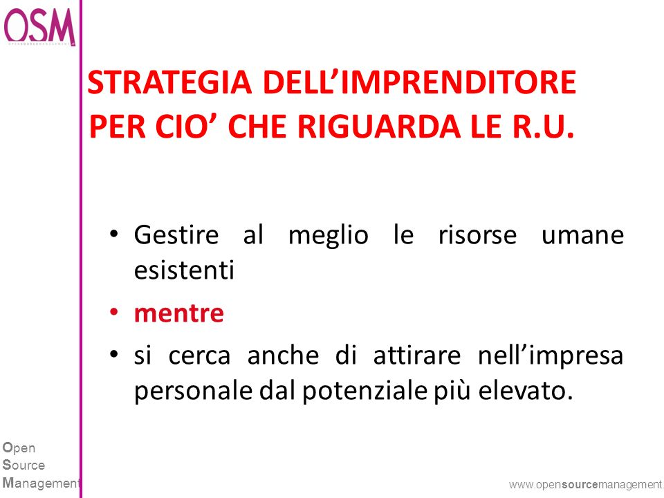 O pen S ource M anagement www.opensourcemanagement.it STRATEGIA DELLIMPRENDITORE PER CIO CHE RIGUARDA LE R.U.